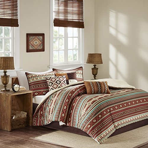 Southwest Turquoise Red Native American Cal King Comforter Set (7 Piece Bed in A Bag)