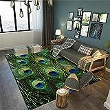 Kunsen Patrón de Plumas clásico Alfombra Duradera Resistente a la Suciedad Lavable fácil de Limpiar Antideslizante alfombras Online Baratas tapete Sala recibidores Modernos 80X160CM