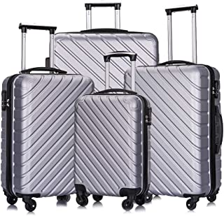 4 Piece Luggage Sets Suitcase Sets with Wheels/Protective Covers/Hangers Hardshell for Women Men Family Travel, Silver