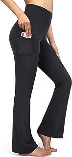 OMANTIC Black Yoga Pants for Women High Waisted Workout Pants Tall Length Bootleg Work Pants Leggings Running Pants (Black...