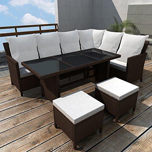 LD Poly Rattan Muebles de jardín jardín Conjunto de 8Personas Lounge Asiento Grupo Jardín de Color Marrón