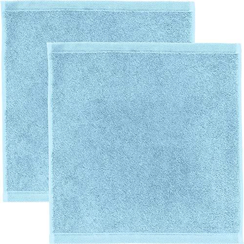 Erwin Müller Seiftuch 2er-Pack, Serie Heidenheim 100prozent Baumwolle -bleu Größe 30x30 cm - schnell trocknend & extra saugstark, kuschelweich, voluminöse Spitzenqualität