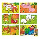 Woodyland 3 x 5 Feliz Motor y Granja Animales Cubes Picture Puzzle (15 Piezas)