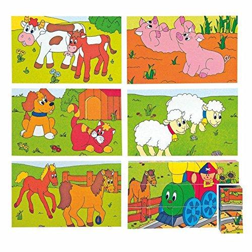 3 x 5 Feliz Motor y Granja Animales Cubes Picture Puzzle (15 Piezas)
