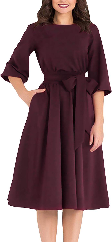 AOOKSMERY Women Elegance Audrey Hepburn Style Round Denver Mall Puf 3 4 New popularity Neck