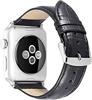 iStrap Alligator Grain Calf Leather Compatible/Replacement for Apple Watch Band Strap iWatch Series 5 4 3 2 1 Edition Sport 38mm 42mm 40mm 44mm