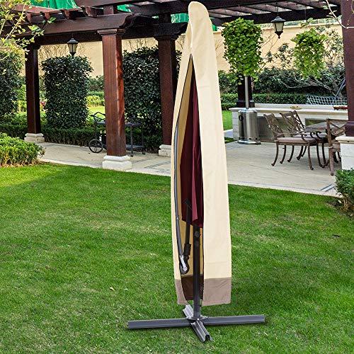ATopoler 600D Funda Protectora de Sombrilla Cubierta Sombrilla para Exteriores Impermeable Resistente Protección UV Ajustable Protectora para Parasol de Jardín Patio (200x60x55cm Beige)