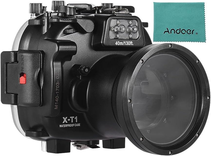 Andoer MEIKON Cubierta de la Caja Protectora de la cámara de Buceo a Prueba de Agua subacuática 40m / 130ft para Fujifilm Fuji X-T1