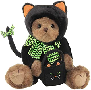 Bearington Midnight Magic, Plush Stuffed Animal Halloween Teddy Bear in Black Cat Outfit, 12 inches