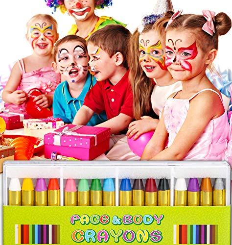 DY_Jin Crayones de Pintura de la Cara 16 Colores Cintas de Pintura de Cara y Cuerpo Maquillaje de Halloween Crayones de Pintura de la Cara para niños pequeños, Niños, ,Seguridad no tóxica