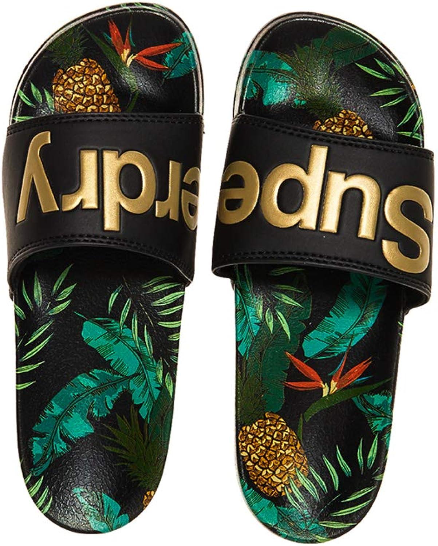 Superdry Beach Slide Flip Flops - Black Pineapple AOP