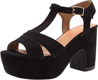 Qupid ANISSA-01 Faux Suede T-Strap Open Toe Chunky Platform Heel