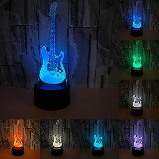 RUMOCOVO® Creativa 3D Guitarra Eléctrica Modelo Illusion 3d Lámpara LED 7 Colores Cambiantes USB Táctil Escritorio Luz De Noche Hogar fiesta De Juguetes De Los Niños Navidad Regalos