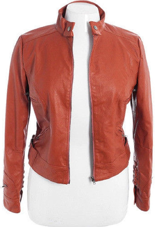 100% New Genuine Leather Lambskin Women Biker Motorcycle Jacket Ladies LTN256