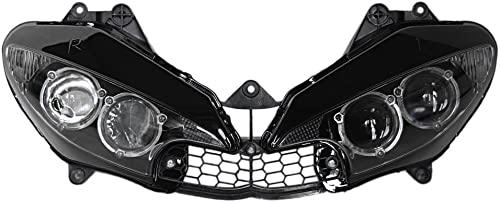 Mallofusa Motorcycle Clear Lends Front Headlight Headlamp Assembly for Yamaha YZF R6 2003-2005 & YZF R6S 2006-2009