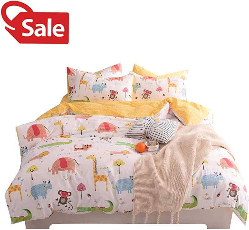 Jungle Animals Boys Kids Queen Duvet Cover Set Cotton White Yellow Teen Full Bedding Sets For Girls Zoo Party Cute Elephant Tiger Monkey Beetle Giraffe Lion Alligator Cat Print Comforter Cover