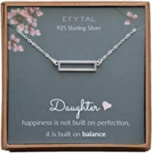 EFYTAL Birthday Gift for Daughter, Sterling Silver Rectangle Necklace, Graduation Jewelry Gift from Mom or Dad