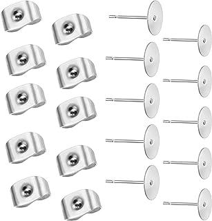 200 Piezas (100 Pares) Postes de Pendientes de Acero Inoxidable con 200 Piezas Tuercas de Mariposa, Hipoalergénico, 5mm y ...