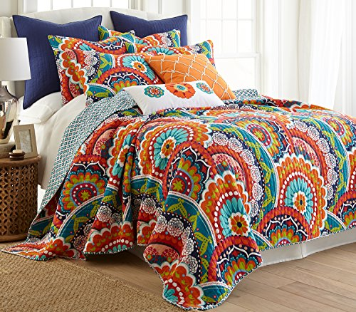Levtex Home - Serendipity Quilt Set - King Quilt + Two King Pillow Shams - Boho Floral in Orange Teal Red Blue - Quilt Size (106x92in.) and Pillow Sham Size (36x20in.) - Reversible - Cotton
