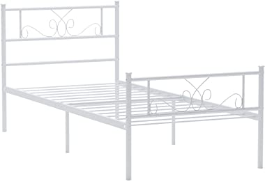 Simlife Metal Twin Bed with Storage Solid Steel Legs Great for Boys and Girls Toddler Princess Bed Frame Kid's Day Bed No Box