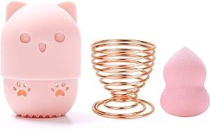 3Pcs Beauty Blender Set, Makeup Sponge Holder Silicone Beauty Blender Case Breathable Beauty Sponge Drying Holder for Travel Storage, Carrying (Pink)