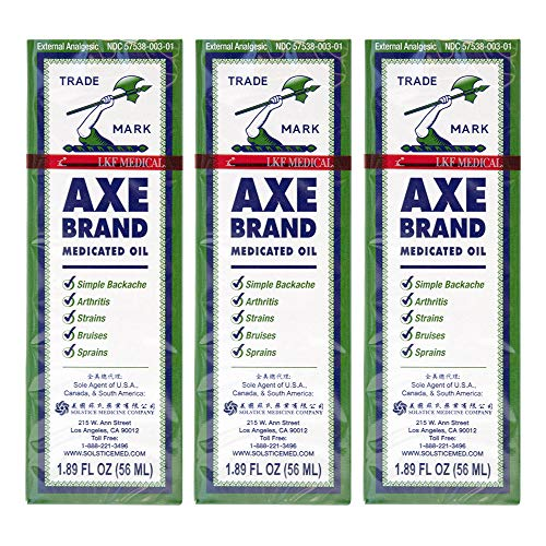 Axe Brand Medicated Oil (Muscle, Joint, and Backache Pain Relief) (1.89 fl oz/ 56 ml) (3 Bottles) (Solstice)