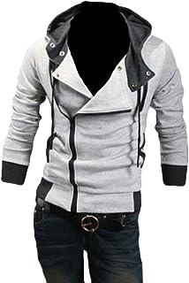 omniscient Men's Slim Oblique Zipper Long Sleeve Jacket Hoodie Top Coat Jacket