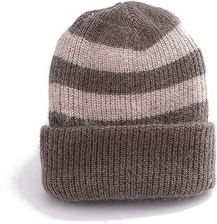 JXSHQS Hat Female Winter Fashion Wool Hat Striped Art Warm Hat Wild Pullover Knit Hat Wool Cap (Color : Brown)