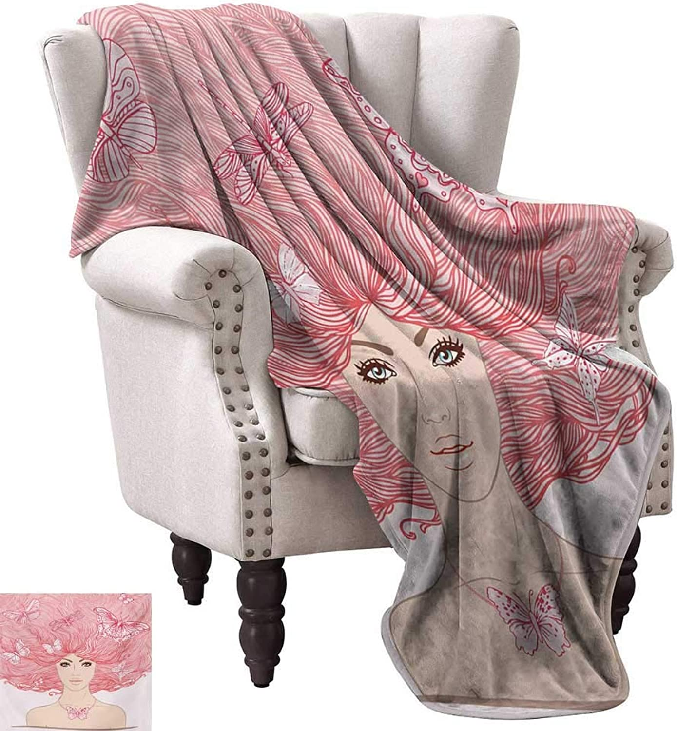 Super Soft Lightweight Blanket,Sketchy Hand Drawn Style Girl with Butterflies in Her Long Pink Hair Illustration 70 x60 ,Super Soft and Comfortable,Suitable for Sofas,Chairs,beds