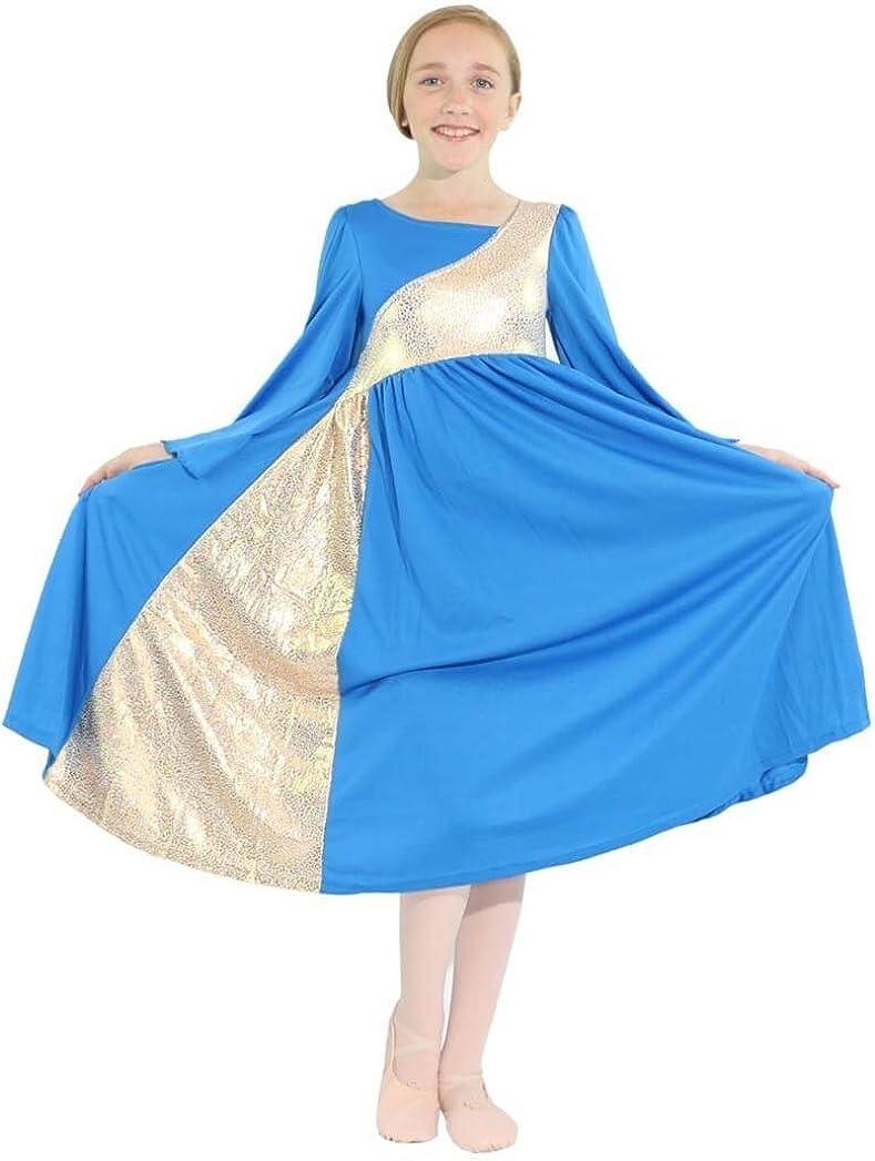 Danzcue Girls Shimmery Asymmetrical Portland free Mall Dance Dress Bell Sleeve