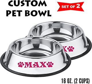 Jeyfel Decals: Personalized Stainless Steel Pet Bowl Set. Dog, Cat. 16 OZ. (2 Cups) (Pink)