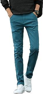 XUEYIER Men`s Slim Fit Chinopants Casual Pants Stretch Colored Pants Cropped Chino Pants Stretchy Slacks Khaki Trousers