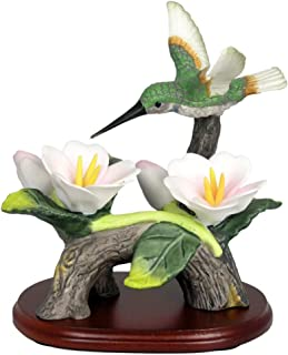 Hummingbird Figurine Porcelain with Pink Flowers with Separate Wood Base 4.5 Inch