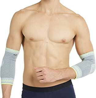 Neotech Care Elbow Support (1 Pair) with Silicon Gel Pad Insert - Lightweight, Elastic & Breathable Knitted Fabric Compression Sleeve - for Men, Women, Right or Left Arm - Grey Color (XL Size)
