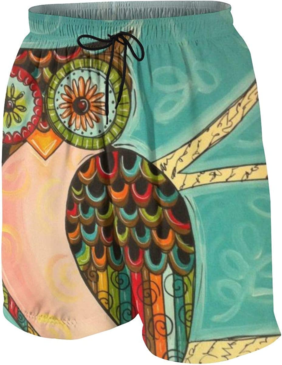 Cartoon Owl Teen Boys Swimming Beach Board Shorts Summer Drawstring Quick Dry Beach Shorts Swim Trunks