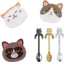 Ouinne, siliconen onderzetter voor katten, met kat, koffielepel, rubberen onderzetter, met roestvrijstalen kat, hangend de...