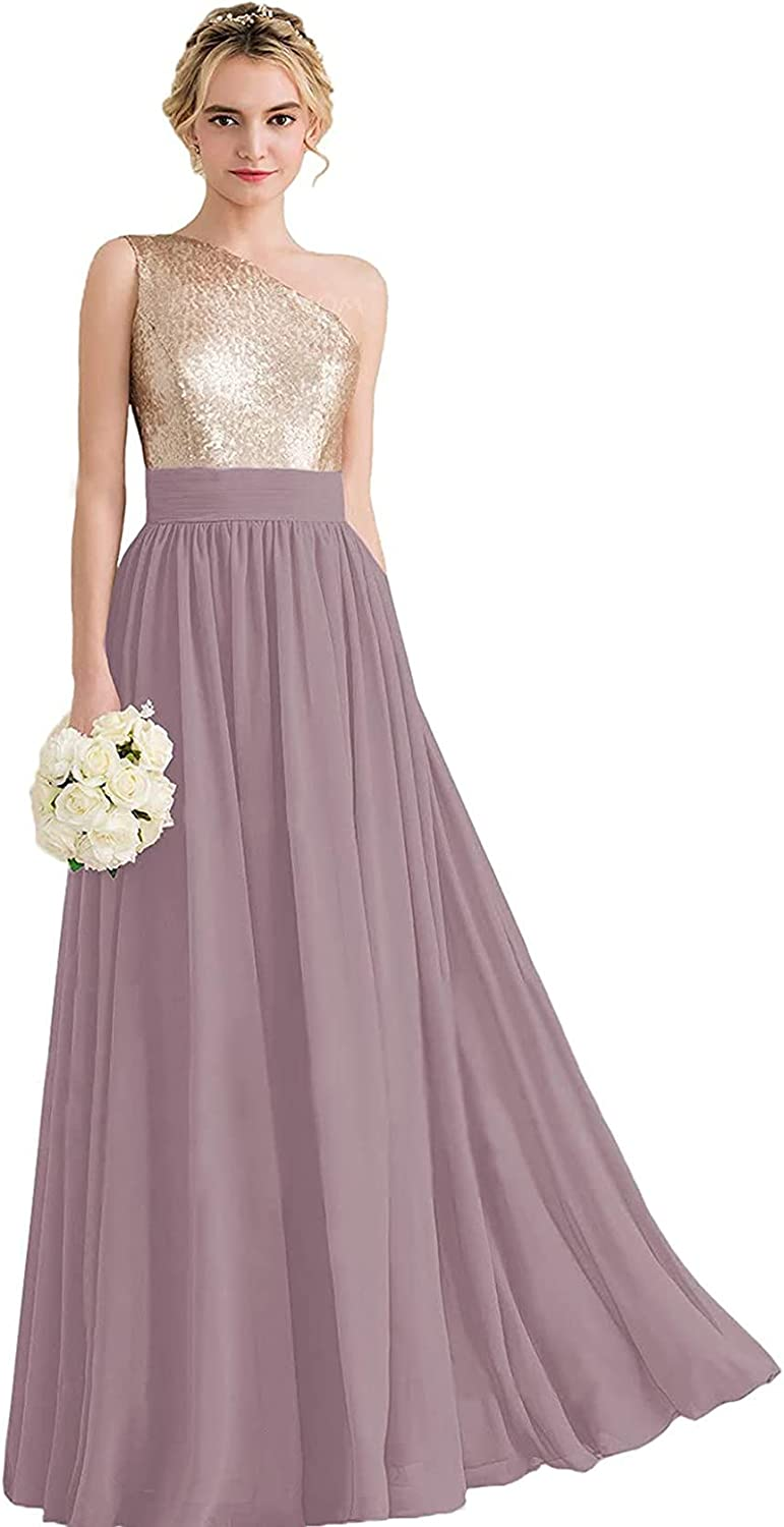 TYSMUM Women's One Shoulder Bridesmaid Dresses Long Sequin Rose Gold Chiffon Formal Evening Gown A-Line Prom Dress