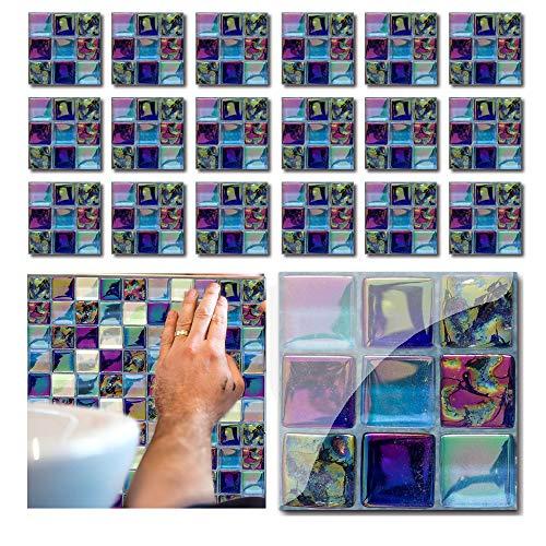 Lezed 18 stück Mosaik Fliesenaufkleber 3D Fliesen Folie Selbstklebend Wasserdicht Fliesen Sticker Dekorative Fliesen Klebefolie für Wandfliesen Tile Style Decals Wandfliese Aufkleber für Küchen Bädern