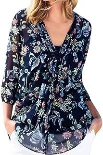 FAPIZI Women Casual Loose T-Shirt Three Quarter Sleeve V Neck Chiffon Floral Print Blouse Tops Plus Size S-3XL