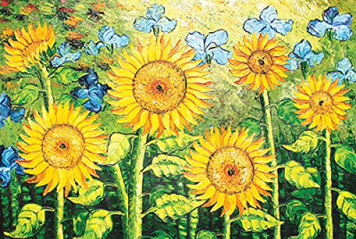 Desconocido Wooden Puzzle 1000 Pieces, Oil Painting Puzzle, Very Challenging Adult and Teen Casual Jigsaw Puzzle- Five Sunflowers