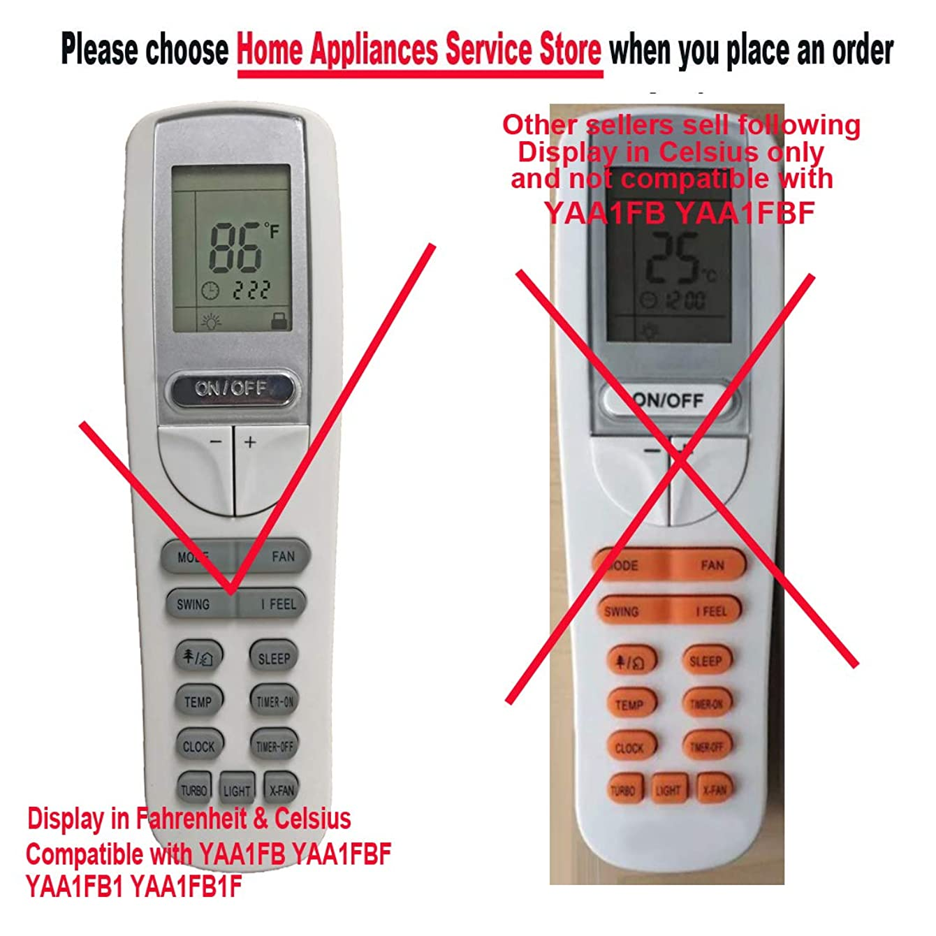 Replacment for GREE Air Conditioner Remote Control Model Number YAA1FB YAA1FBF YAA1FB1 YAA1FB1F