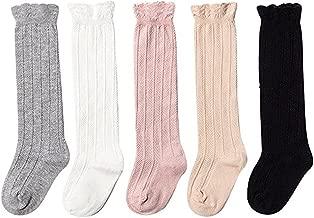 Udobuy 5 Pairs Baby Girls Cotton Knee High Socks Kids Toddle Over Calf Knee High Socks