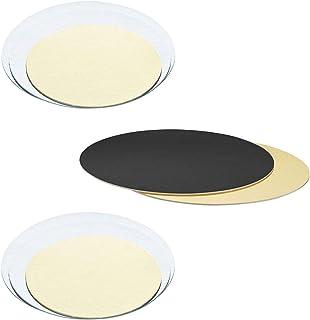 Yagma Lot de 6 plaques à tarte rondes Noir/doré 26 cm Rond 28 cm
