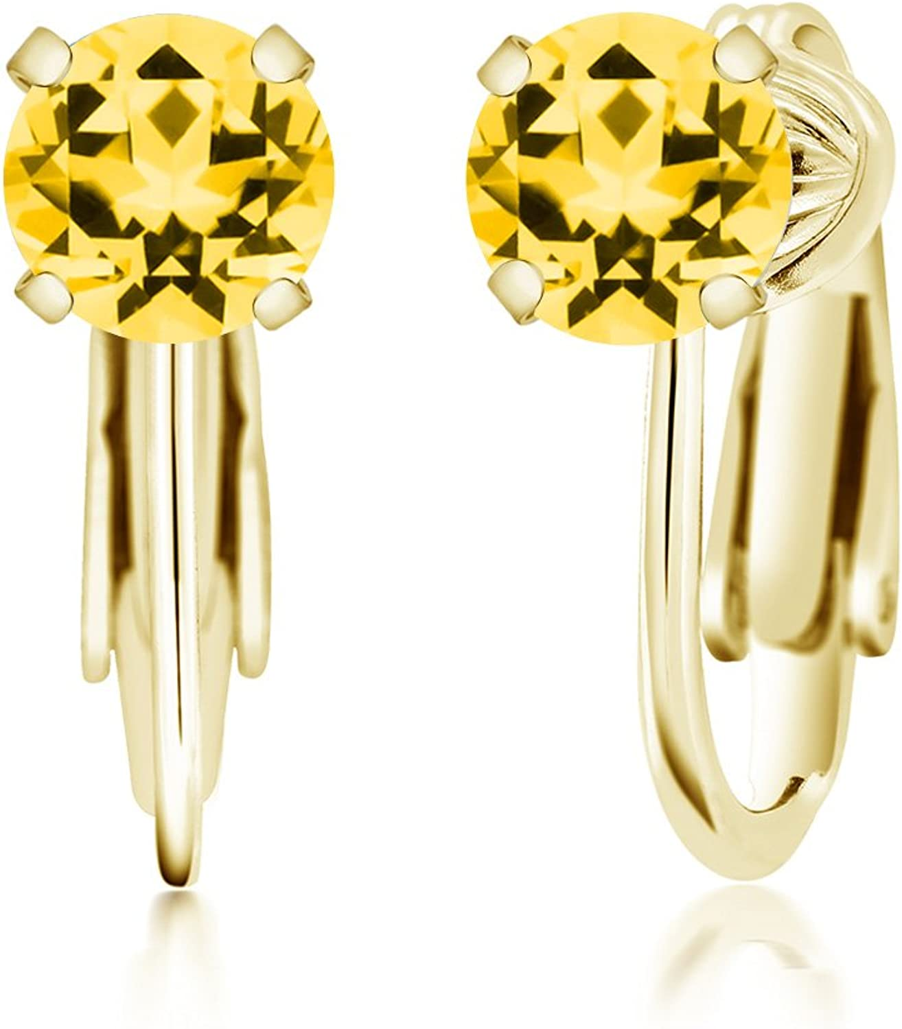 Carlo white 925 Yellow gold Plated Silver Earrings Honey Natural Topaz Cut by Swarovski