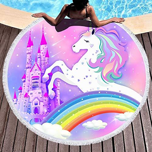 "Bonsai Tree Unicorn Beach Towel, Cute Rainbow Large Round Beach Towel with Tassels, Pink Magic Castle Beach Blanket Sand Proof Oversized Gifts for Girls 59"""