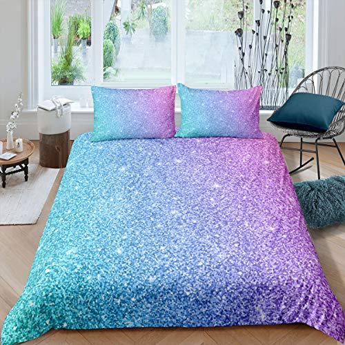 Colorful Rainbow Bedding Twin Girly Turquoise Teal Blue Pink Pastel Marble Duvet Cover 2 Pcs Trendy Bedspreads Cover Modern Girls Women Comforter Cover Set with Mermaid Tie Dye Bedroom Decor Bed
