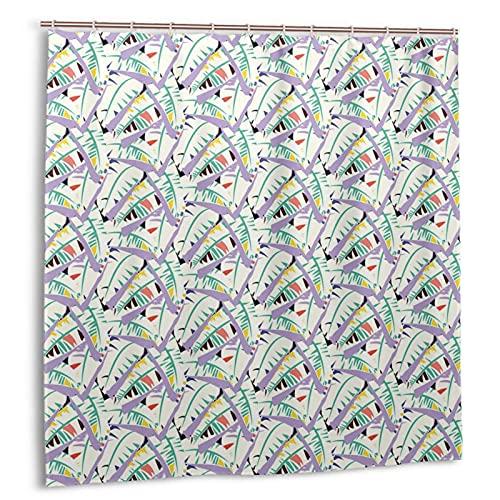 GUVICINIR Cortina de Ducha,Ilustración de revoltijo artístico Abstracto con Hojas de plátano Tropical en Tonos vívidos de ensueño,Durable Cortina de Baño Impermeable,180 x 180 cm
