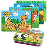 BBLIKE Jigsaw Wooden Puzzles Toy in a Box for Kids, Pack of 4 with Varying Degree of Difficulty Educational Learning Tool Best Birthday Present for Boys Girls (Animal)