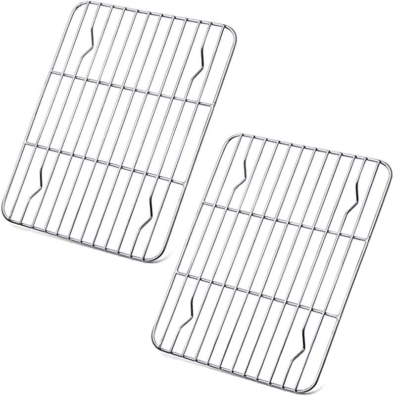 P P CHEF Cooling Rack Pack Of 2 Stainless Steel Cooking Rack For Cooling Baking Roasting Grilling Drying Rectangle 9 7 X 7 3 X 0 6 Fits Small Toaster Oven Oven Dishwasher Safe