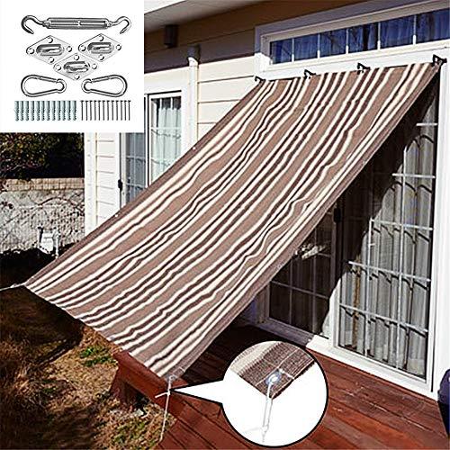 Zonnescherm Sail Luifel Luifel Net Stripes Sail Canopy Rechthoekige Patio Zonnescherm Block voor Outdoor, achtertuinen activiteiten met roestvrij stalen Kit,0.9 * 1.8M
